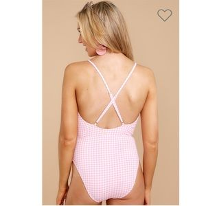 Juicy Couture Swim - [Juicy Couture] Gingham Pink Cutout One-Piece Swim